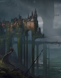 Viking Castle by Martin Deschambault (Fantasy Art Watch) - Art Fantasy City, Fantasy Castle, Fantasy Places, Fantasy Kunst, Medieval Fantasy, Fantasy World, Dark Fantasy, Fantasy Concept Art, Fantasy Artwork