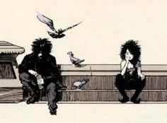 This is an excellent illustration of Sandman and his sister, Death. Sandman preludes and nocturnes) by Neil Gaiman. Herein lies my discovery of graphic novels. Sandman Gaiman, Enter Sandman, Neil Gaiman, Comic Books Art, Comic Art, Book Art, Nocturne, Character Illustration, Dark Art