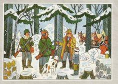 Josef Lada zima v obraze.Josef Lada Winter in the image . Children's Book Illustration, Christmas Inspiration, Pose Reference, Dog Art, Statues, Childrens Books, Illustrators, Fairy Tales, History