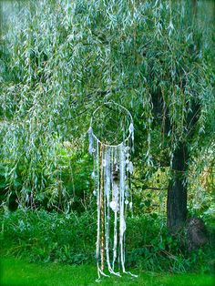 White Dream Catcher - large with fox tail