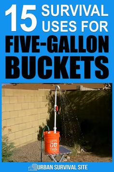 15 Survival Uses for Five-Gallon Buckets In a long-term disaster you can use buckets for all sorts of things. This post describes and after you read it you'll never throw a bucket away again. Survival Items, Urban Survival, Survival Food, Homestead Survival, Wilderness Survival, Survival Prepping, Survival Skills, Survival Quotes, Survival Life