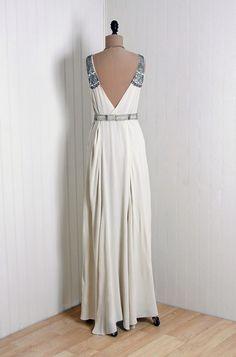 1930's Antique Vintage Ivory-White Beaded Rhinestone Silk-Crepe Couture Low-Plunge Sleeveless Cummerbund-Belt Hourglass Grecian-Goddess Deco...