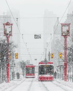 Toronto - streetcars on Spadina Toronto Snow, Toronto Ontario Canada, Toronto City, Toronto Winter, Toronto Skyline, Winter Landscape, Landscape Photos, Landscape Photography, Scenic Photography