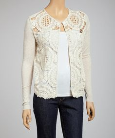 Take a look at this Natural Crochet Cardigan by Mystree on #zulily today!