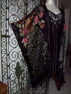 Velvet Burnout Kimono, Beaded Peacock, Fringe, Gypsy, Bohemian, Stevie Nicks, Plus Size, Black, Caftan, Festival, Treasury, Cover Up, Devore by Beachwraps on Etsy https://www.etsy.com/listing/234170371/velvet-burnout-kimono-beaded-peacock