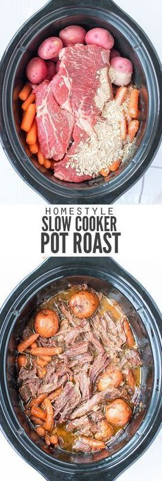 - My family loves this easy slow cooker pot roast recipe. Just dump the ingredients in the pot hit a button and a healthy dinner ready is ready when you are. :: DontWastetheCrumb Classic Crock Pot Roast - Slow Cooker - Ideas of Slow Cooker Slow Cooker Roast, Crock Pot Slow Cooker, Crock Pot Cooking, Crock Pots, Slow Cooker Dinners, Slow Roast, Pot Roast Recipes, Beef Recipes, Cooking Recipes