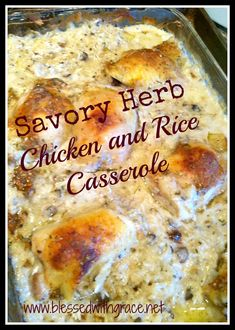 Savory Herb Chicken and Rice Casserole by BlessedWithGrace.net