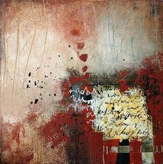 """Secrets""-mixed media, oils and cold wax on cradled wood by Jacqui Fehl"