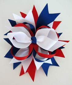 4th of July Hair Bows | Large Stacked Fourth of July Hair Bow | Celebrate: Independance Day ...