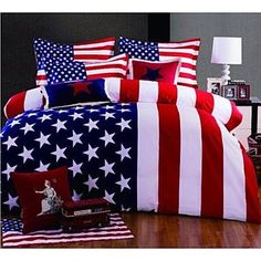 American Flag Duvet Cover Queen King Size 4 Pieces Bedding Set – USD $ 67.99