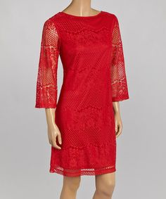 Another great find on #zulily! Crimson Mesh Shift Dress #zulilyfinds. Very pretty!