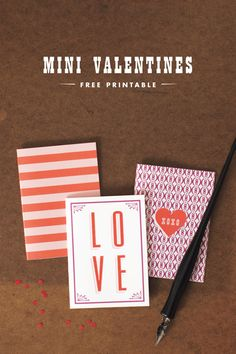 Mini Valentine Cards: Free Printable