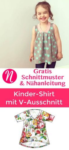 Freebook - geniales Kindershirt mit V-Ausschnitt ❤ für 2 - 10 Jahre ❤ PDF zum Ausdrucken ❤ mit Anleitung ✂ Jetzt Nähtalente.de besuchen ✂ Free Sewing Pattern for a children shirt with V-Neck. With sewing tutorial! PDF Sewing Pattern for printing at home