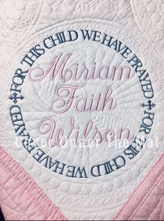 Pink Quilts, Baby Girl Quilts, Girls Quilts, Baby Monogram, Monogram Fonts, Shabby Chic Quilts, Personalized Baby Shower Gifts, Embroidered Quilts, Custom Quilts