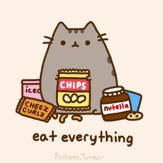 Eat everything, text, snacks, Pusheen, gif; Pusheen