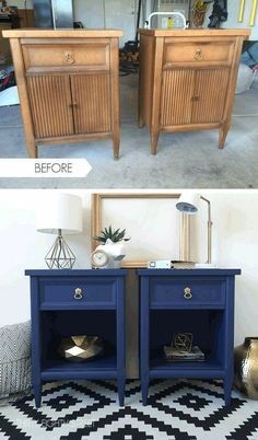 Give a new look to his furniture! 15 ideas to inspire you Furniture Makeover DIY Furniture give Ideas Inspire Refurbished Furniture, Paint Furniture, Repurposed Furniture, Furniture Projects, Furniture Making, Furniture Makeover, Bedroom Furniture, Restoring Furniture, Diy Bedroom