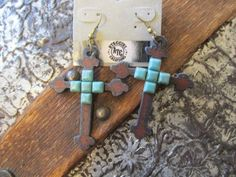 Rustic Metal Cross Earrings Available at Buckaroo Bay Cowgirl Jewelry & Western Accessories BuckarooBay.com Matching Necklace also available