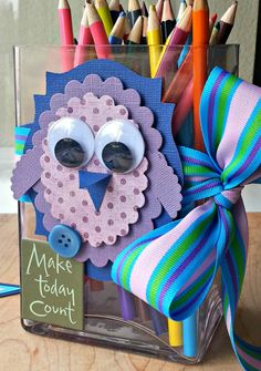 Classroom Organization -- Owl Pencil Holder | Colored Pencil Holder