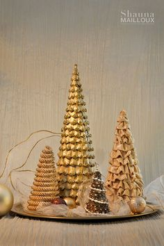DIY cone trees - made with pinecone pieces, fabric, cording, beaded necklaces