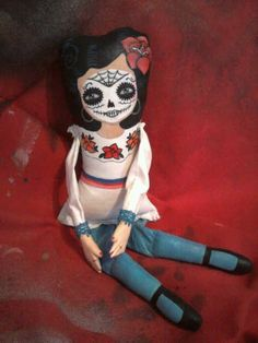 Day of the Dead Art doll Fabric Hand painted by 1213FigueroaSt, $25.00