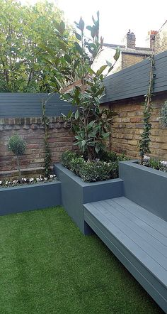 45 Best DIY Outdoor Bench Ideas for Seating in The Garden Grey colour scheme raised beds agapanthus olives artificial grass porcelain grey tiles grey Floating bench lighting Balham Clapham Wandsworth Battersea Fulham Chelsea London Back Garden Design, Modern Garden Design, Raised Bed Garden Design, Contemporary Garden, Backyard Patio Designs, Small Backyard Landscaping, Landscaping Ideas, Backyard Ideas, Backyard Pergola