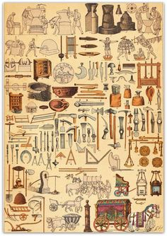 Ancient Rome AntiqueChromolithograph  Machines Utensils Tools Vehicles  1894