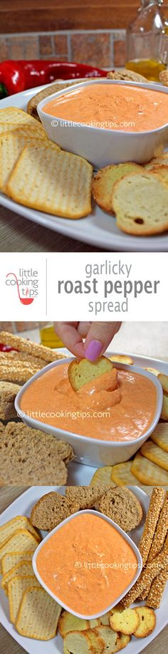 Super easy, creamy garlicky red pepper spread with Greek yogurt and cream cheese. Better than the store-bought variety this is ideal for game night with friends and family.   Repin to your own inspiration board! #pepper #sread #recipe #gamenight #game #yogurt
