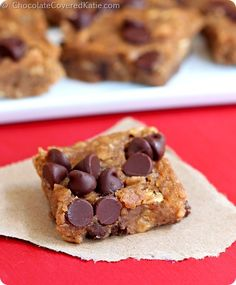 Nutella Cookie Dough Blondies http://chocolatecoveredkatie.com/2014/09/23/nutella-chocolate-chip-blondies/