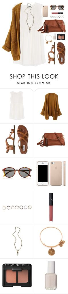 """""""i like fall more"""" by classically-preppy ❤ liked on Polyvore featuring MANGO, Steve Madden, Yves Saint Laurent, Iosselliani, NARS Cosmetics, Alexandra Beth Designs, Alex and Ani, Essie, women's clothing and women"""
