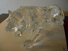Abertek Crystal Art Glass LARGE Tiger Handmade Sculpture