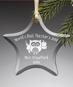 Personalized Planet Best Teachers Aide Personalized Star Ornament   zulily