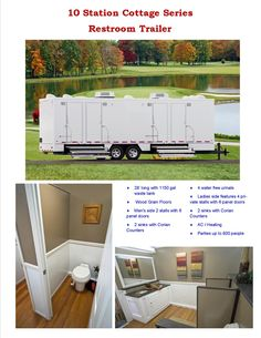10 Station Cottage Series Restroom Trailer - Perfect for #groups up to 800 people. Amenities equal to beautiful hotels; AC, Heat, Stereo and some with TV's. When #elegance meets the outdoors. #Elegant surroundings for Elegant Occasions.  800-475-0049
