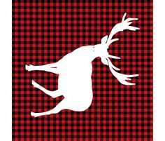 Deer against a Red and Black Plaid Print  - Large fabric by shopcabin on Spoonflower - custom fabric