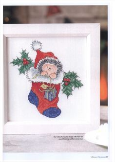 Hedgehog Cross Stitch, Just Cross Stitch, Christmas 2017, Christmas Wishes, Christmas Ornaments, Christmas Ideas, Crochet Stitches, Embroidery Stitches, Cross Stitch Christmas Cards