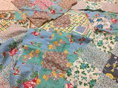 Vintage Depression Era Flour Sack 9 Patch Squares 7 Great 4 Repurpose | eBay