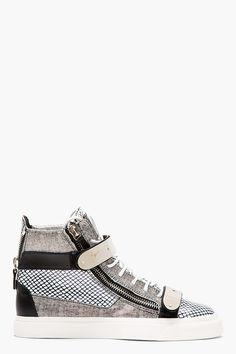 Giuseppe Zanotti Black And White Leather Mesh print High top Sneakers
