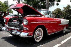 1955 Chevrolet Bel Air cnv - red white - fvl2