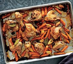 Roasted Chicken and Carrots With Olives and Lemons | Get the recipe: http://www.realsimple.com/food-recipes/browse-all-recipes/roasted-chicken-and-carrots-with-olives-and-lemons-recipe-00000000023176/index.html