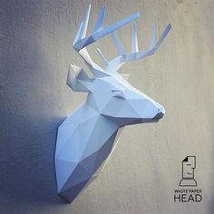Бумажная голова оленя 2  шаблон для печати от WastePaperHead