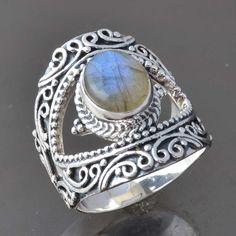 925 STERLING SILVER EXCLUSIVE Labradorite FANCY RING 10.05g DJR9316 SZ-8 #Handmade #Ring