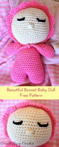 Baby Doll Pattern | Baby Bonnet Doll | Free Doll Pattern | Cute Baby Doll | Crochet Doll | Amigurumi