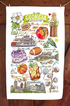 Your place to buy and sell all things handmade Travel Sketchbook, Arte Sketchbook, Linen Towels, Tea Towels, Travel Themes, State Art, Journal Inspiration, Georgia, Artsy