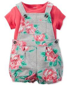 Carter's Baby Girls' 2-Piece T-Shirt & Floral-Print Shortall Set