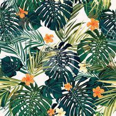 """Papier peint """"tropical, arrière-plan, vecteur - bright transparent tropical coloré avec des feuilles et"""" ✓ Un large choix de matériaux ✓ Impression écologique 100% ✓ Regardez des opinions de nos clients !"""