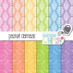 Pastel Damask Digital Paper – damask scrapbook paper with light and dark patterns - printable paper - pastel digital paper - commercial use