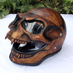 Motorcycle Helmet Skull Monster Death Visor Flip Up Shield Ghost Rider Full Face Skull Motorcycle Helmet, Skull Helmet, Motorcycle Style, Motorcycle Gear, Ghost Rider Motorcycle, Women Motorcycle, Moto Bike, Motorcycle Accessories, Custom Helmets