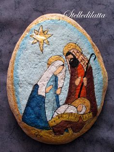 Hand Engraved Nativity Stone for Christmas decor and gifts (rock art ideas)Painted Rock Ideas - Do you need rock painting ideas for spreading rocks around your neighborhood or the Kindness Rocks Project? Pebble Painting, Tole Painting, Pebble Art, Christmas Rock, Christmas Nativity Scene, Nativity Scenes, Rock Painting Patterns, Rock Painting Designs, Stone Crafts