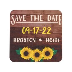 TWCST411 - Sunflower Save the Date Coasters #sunflower #wedding #engagement