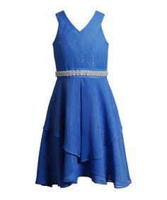 Look what I found on #zulily! Blue Belted V-Neck Dress - Girls #zulilyfinds