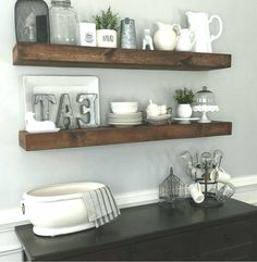 dining room floating shelves by Dining Room Floating Shelves, Shanty 2 Chic, Improve Yourself, Rustic, Room Ideas, Budget, Home Decor, Country Primitive, Decoration Home